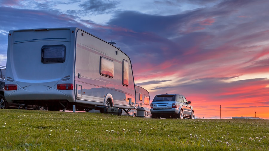 Travel trailer at sunset