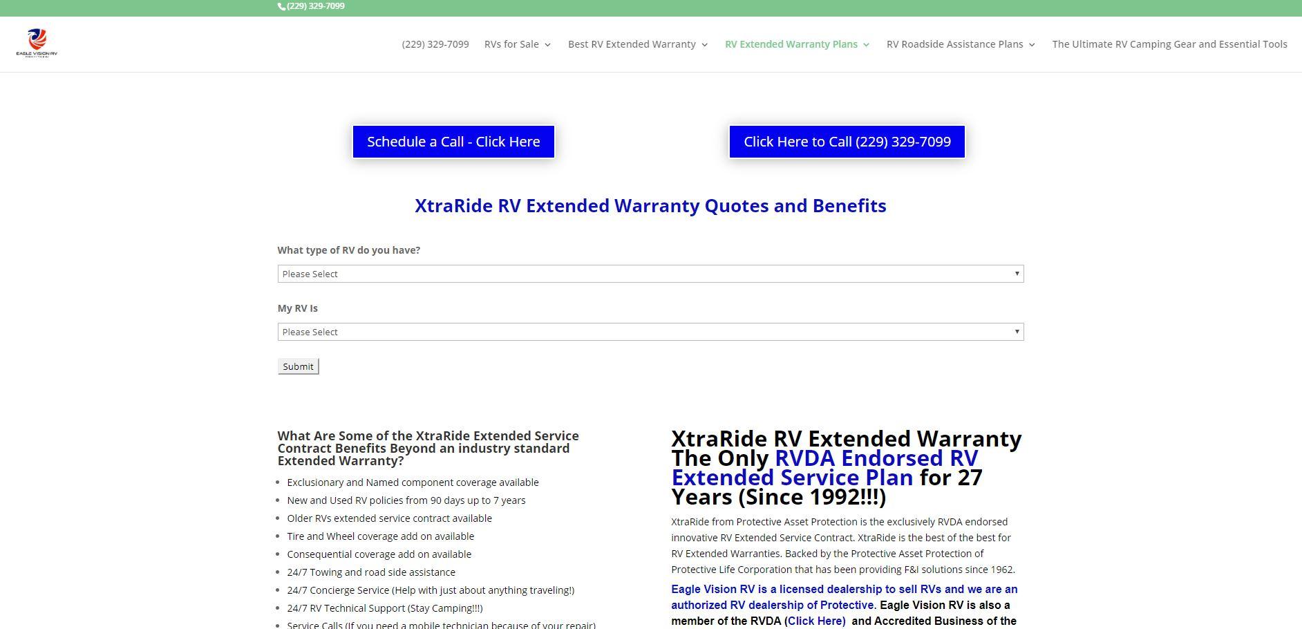 XtraRide RV Extended Warranty
