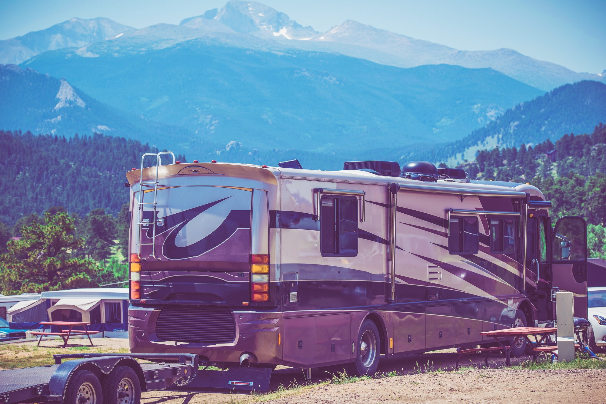 Motorhome towing a trailer