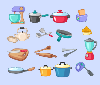 15.Cooking Equipment, Plates, Cutlery..etc