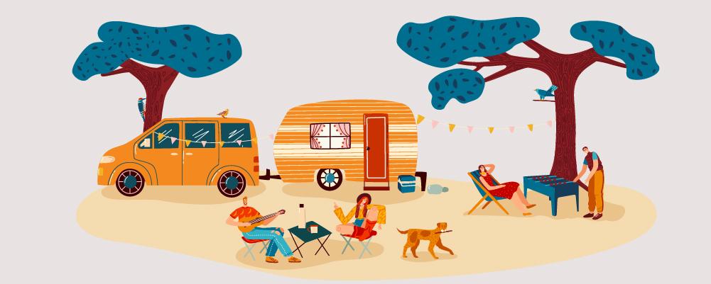 People Outside their Camper Van