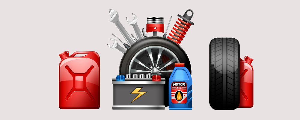 Traveling Tools like gas, extra, wheel and battery