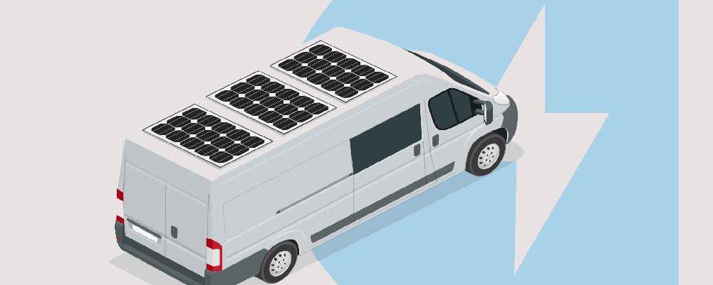 Solar panels on top of the camper van