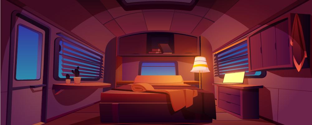Lighted lamp inside the camper van